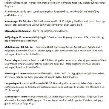 Kristniboðsvika 2018 – ítarleg dagskrá